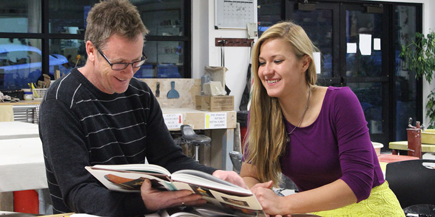 Fine Arts student Flor Widmar is mentored by professor Rick Parsons