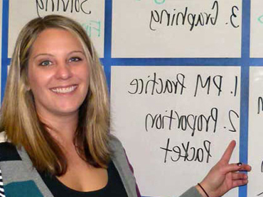 Picture of a teacher in her classroom after graduating from SNU Tahoe's Masters of Arts in Teaching