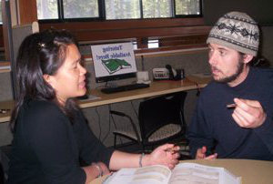 SNU Tahoe student comes to the tutoring center to seek additional help for class work 和 career development