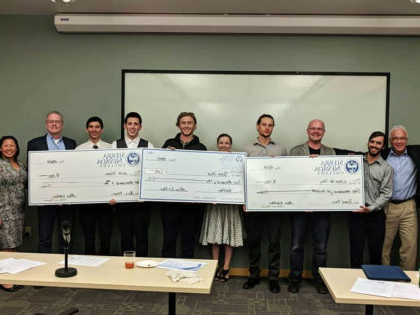 The winners of the 2018 President's Cup 商业 Plan Competition at Sierra Nevada University and their faculty mentors