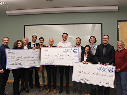 The winners and judges at Sierra Nevada University's 2020 Pitch Competition, part of the Halden-Pascotto 商业 Plan Competition series.