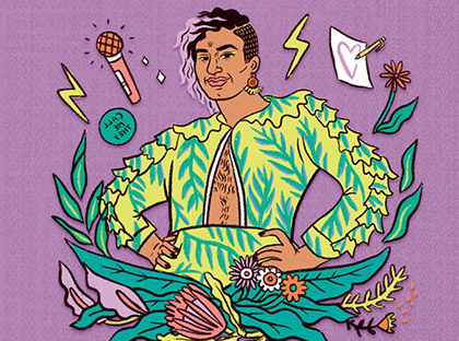 Brightly colored image from the cover of the book Beyond the Gender Binary by gender non-conforming writer and performance artist Alok Vaid-Menon