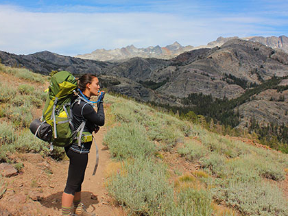 SNC Tahoe sustainability student mckenna bean backpacking in the Sierras.