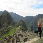 english major terra breeden practices yoga atop Machu Picchu