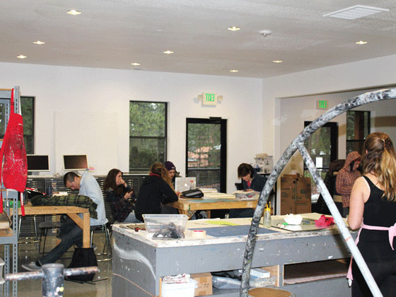 A painting class in the Holman Arts and Media Center