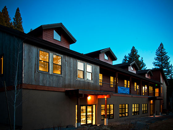 The Holman Arts & Media Center at dusk.