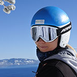 SNU natural resource management major mihaela kosi skiing above Lake Tahoe