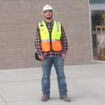 Jordan Koucky, Business major, in construction attire
