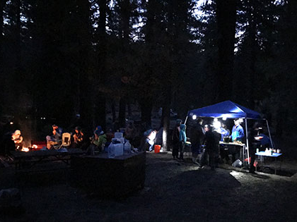 Butte Lake Campground, Lassen NP - science students and faculty camp at dusk