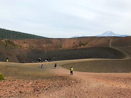 Lassen NP - geology students hike up Cinder Cone