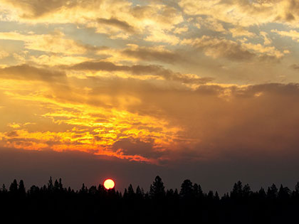 Lassen NP - smoke from wildfires in Oregon makes a spectacular sunset in northern California
