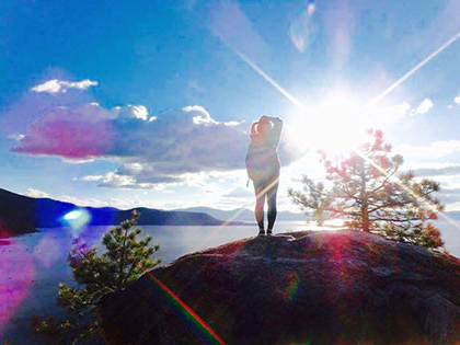 International student takes a quick hike to Monkey Rock to get a view of her new home in the Tahoe Basin