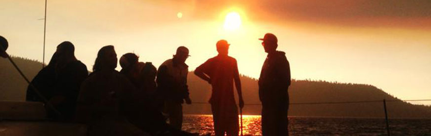 Sierra Nevada University students on a sunset sail on Lake Tahoe