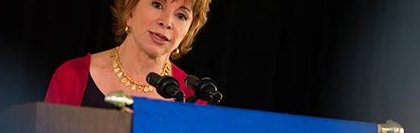 Author Isabel Allende speaking at the SNU Tahoe Forum in September 2015