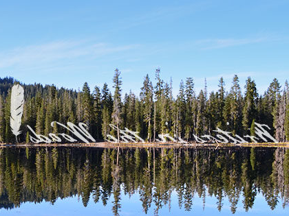 Pines reflected in the lake is the logo for the SNU Tahoe Writers in the Woods literary speaker series.