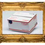 Flat Rate exhibition logo - flat rate mailing box in fancy gold frame
