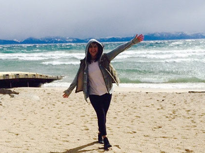 Estefania Gonzalez, finance and economics and International Studies major, enjoying the beach at Lake Tahoe
