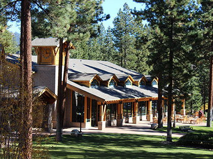 As you pull into the parking lot at SNU Tahoe, you get to view the lawn of Patterson Hall.