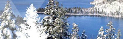 A snowy winter view of Lake Tahoe with the pine tree logo of the Sierra Nevada University MFA创意写作 program.